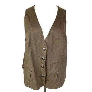 LANE BRYANT Brown 4 Button Lined Vest w/ Pockets